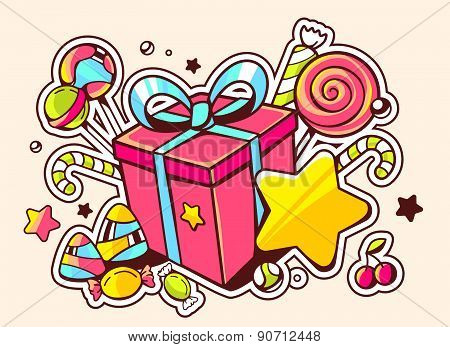 Vector Illustration Of Gift Box And Confection  On Light Background With Star And Dot.