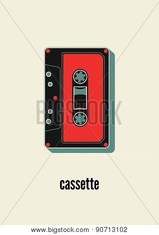 Retro poster design with an audio cassette. Vintage vector illustration.