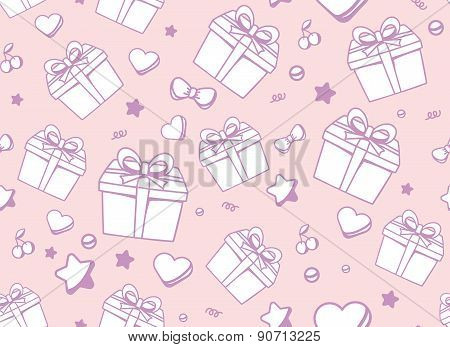 Vector Festive Muted Color Pattern With White Gift Box, Star, Heart And Cherry On Pink Background.