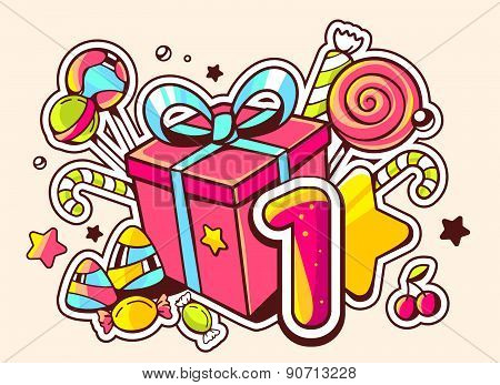 Vector Illustration Of Gift Box And Confection With Number One On Light Background With Star And Dot