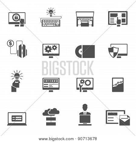 Program Development Icons Black