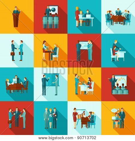Business Training Icons Flat Set