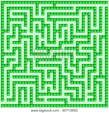 Green Square Maze-mosaic (18X18)