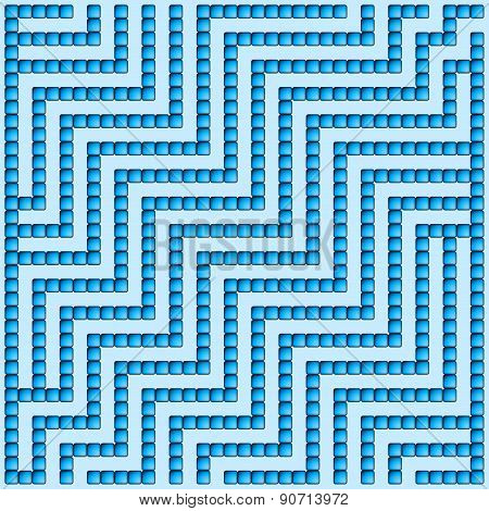 Blue Square Maze-mosaic (17X17)