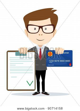 Man with an approved contract and credit cards