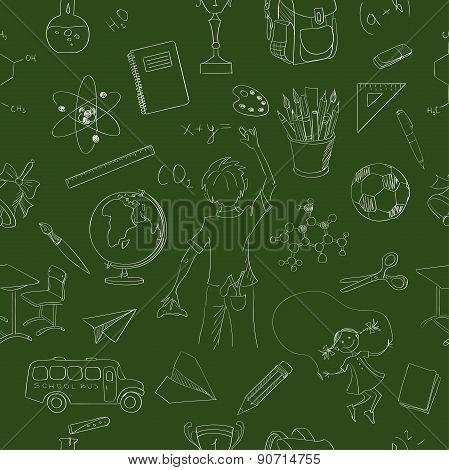 Seamless pattern school board freehand drawing