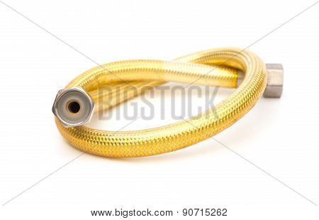 Gold Woven Metal Tube On White Background