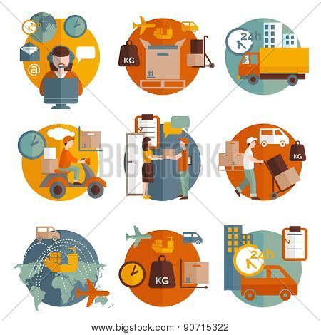 Logistics concept icons set