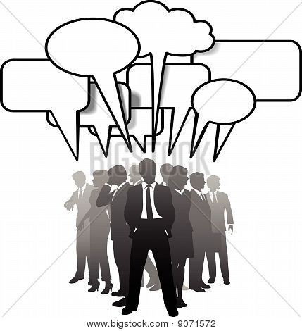Business People Talking Communicate In Speech Bubbles