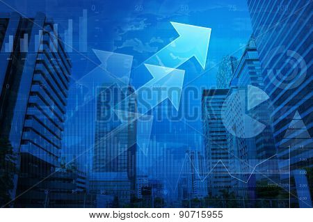 Arrow Head With Financial Graph And Map  On City Background, Elements Of This Image Furnished By Nas