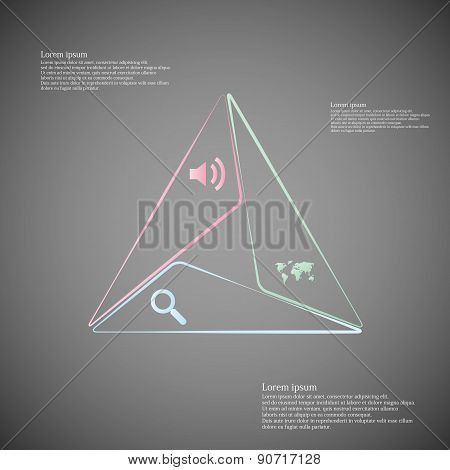 Infographic Consists Of Three Triangles From Lines On Dark