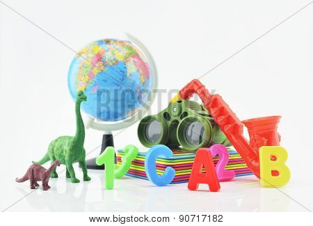 Plastic Toys On White Background, Children Explore Concept