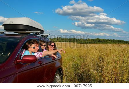 Family vacation, car trip on summer, happy parents travel with kids and having fun, car insurance