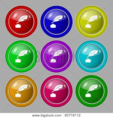Feather, Retro Pen Icon Sign. Symbol On Nine Round Colourful Buttons. Vector