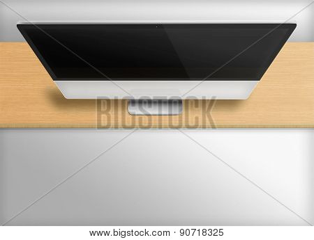 Modern Computer Monitor With Black Screen.