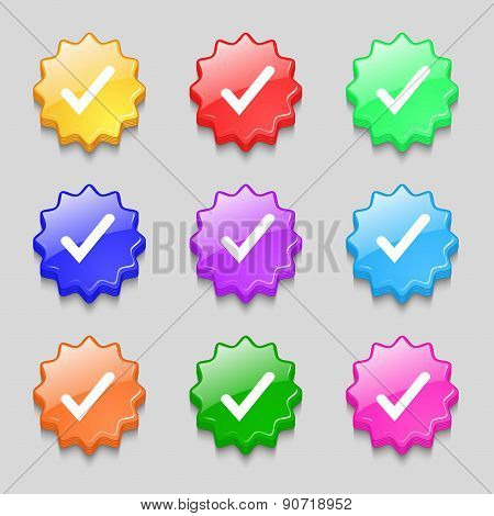 Check Mark, Tik Icon Sign. Symbol On Nine Wavy Colourful Buttons. Vector