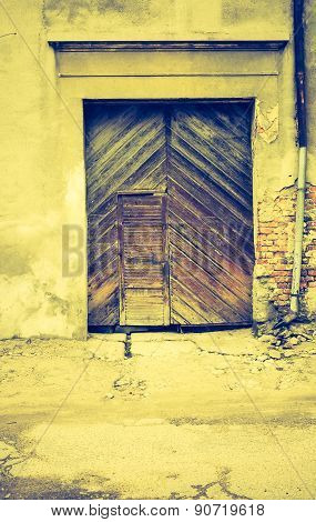Vintage Photo Of Old Wall With Doors