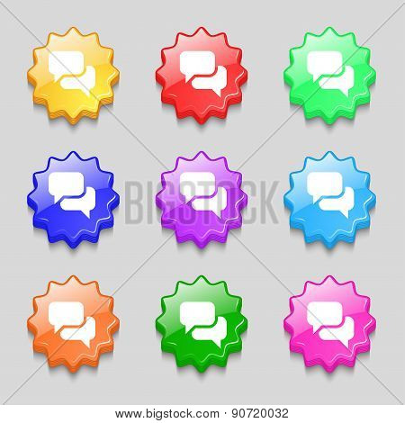 Speech Bubble, Think Cloud Icon Sign. Symbol On Nine Wavy Colourful Buttons. Vector