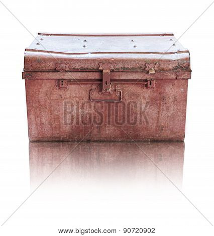 Old Rusty Casket On White