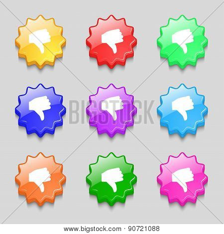 Dislike, Thumb Down Icon Sign. Symbol On Nine Wavy Colourful Buttons. Vector