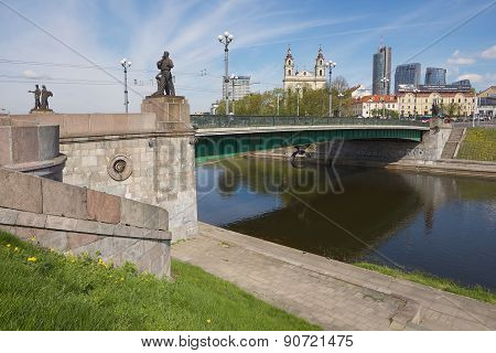 Exterior of the Green Bridge in Vilnius, Lithuania.