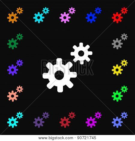 Cog Settings,  Cogwheel Gear Mechanism  Icon Sign. Lots Of Colorful Symbols For Your Design. Vector