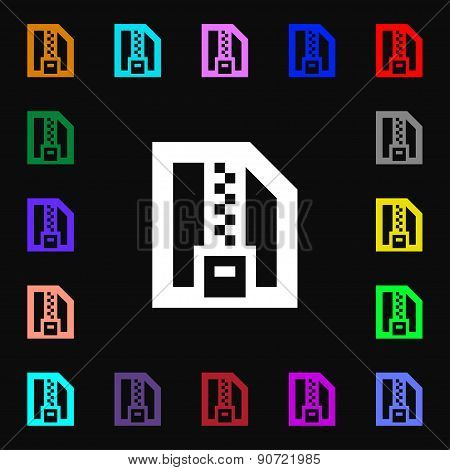 Archive File, Download Compressed, Zip Zipped  Icon Sign. Lots Of Colorful Symbols For Your Design.