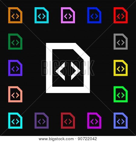 Programming Code  Icon Sign. Lots Of Colorful Symbols For Your Design. Vector