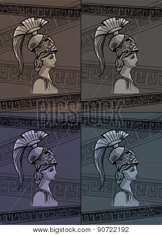 Athena Drawing Vector Illustration Set