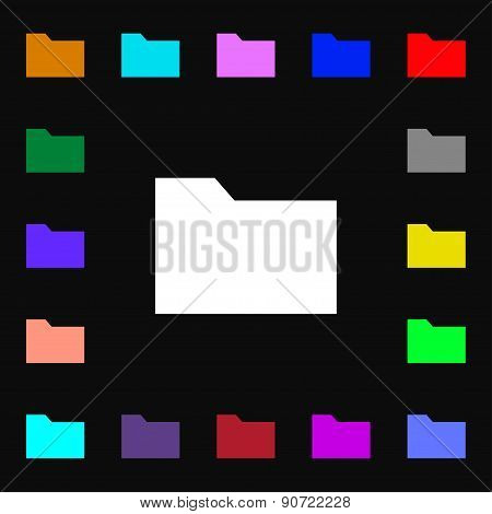 Document Folder  Icon Sign. Lots Of Colorful Symbols For Your Design. Vector
