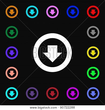 Arrow Down, Download, Load, Backup  Icon Sign. Lots Of Colorful Symbols For Your Design. Vector
