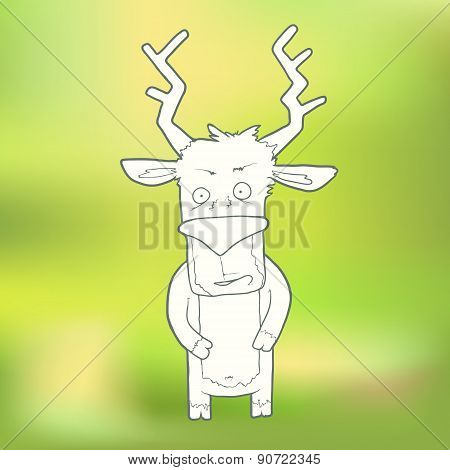 Vector Illustration Hand-drawn cute deer on blurred green background