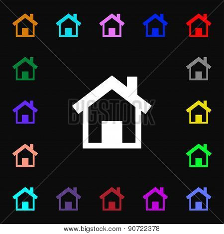 Home, Main Page  Icon Sign. Lots Of Colorful Symbols For Your Design. Vector
