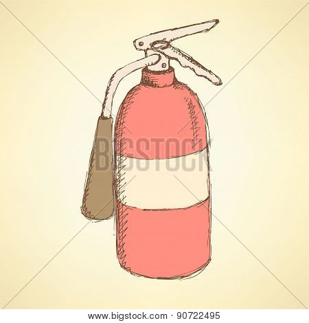 Sketch Colorful Extinguisher In Vintage Style