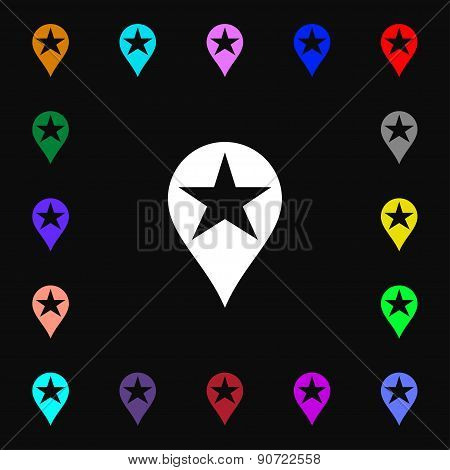 Map Pointer Award, Gps Location  Icon Sign. Lots Of Colorful Symbols For Your Design. Vector