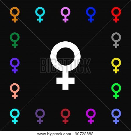 Symbols Gender, Female, Woman Sex  Icon Sign. Lots Of Colorful Symbols For Your Design. Vector