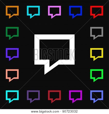 Speech Bubble, Think Cloud  Icon Sign. Lots Of Colorful Symbols For Your Design. Vector