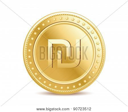 Golden Shekel Coin On The White Background