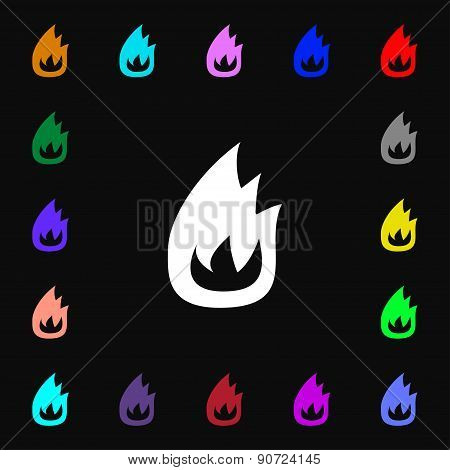 Fire Flame  Icon Sign. Lots Of Colorful Symbols For Your Design. Vector