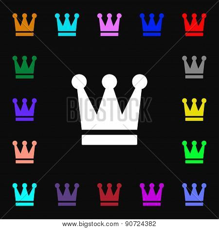 King, Crown  Icon Sign. Lots Of Colorful Symbols For Your Design. Vector