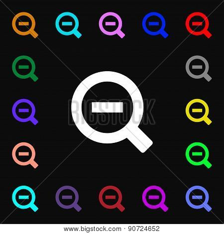 Magnifier Glass, Zoom Tool  Icon Sign. Lots Of Colorful Symbols For Your Design. Vector