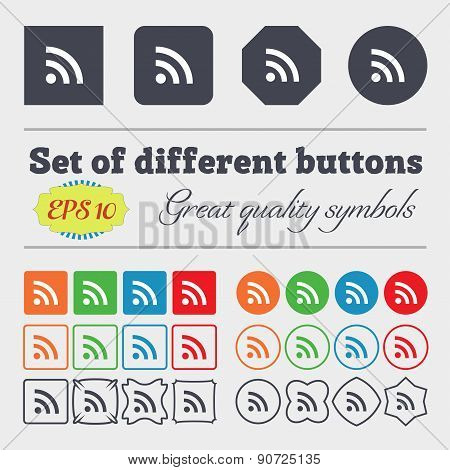 Wifi, Wi-fi, Wireless Network  Icon Sign Big Set Of Colorful, Diverse, High-quality Buttons. Vector