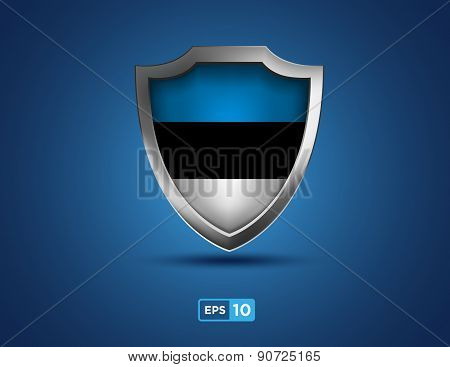 Estonia Shield On The Blue Background