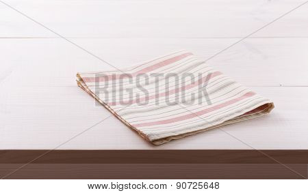 Tablecloth textile on white wooden background