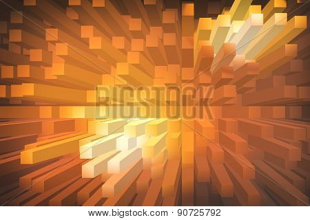Orange Extrude Geometric Abstract Background