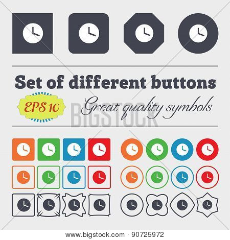 Mechanical Clock   Icon Sign Big Set Of Colorful, Diverse, High-quality Buttons. Vector