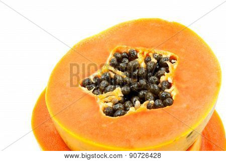 Ripe Papaya Isolated On White