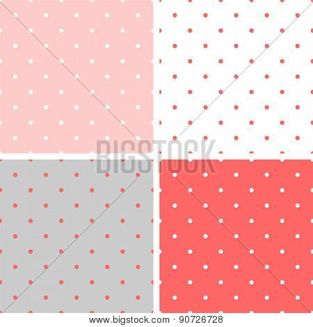 Tile vector pattern set with polka dots on pastel background