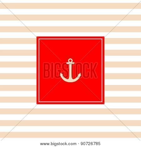 Nautical vector card with anchor, red background and pastel stripes