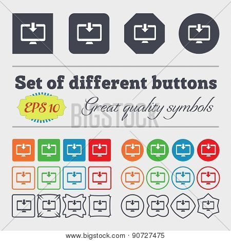 Download, Load, Backup  Icon Sign Big Set Of Colorful, Diverse, High-quality Buttons. Vector
